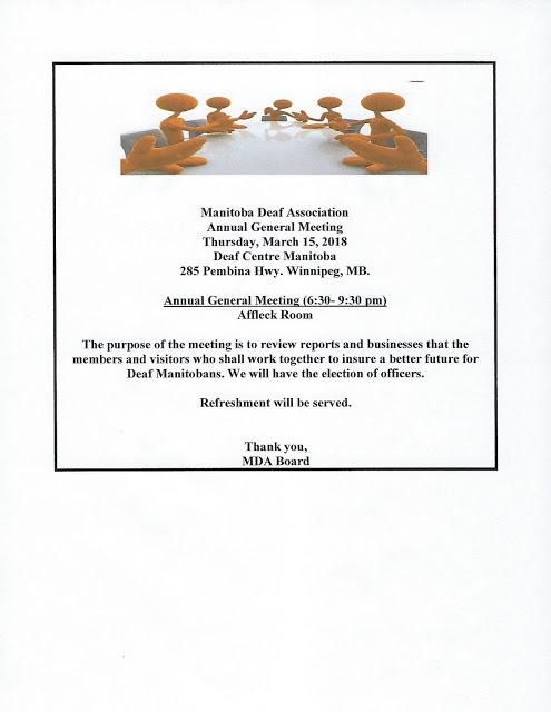 Deaf Centre Manitoba Inc Friendly Reminder