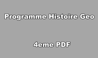 Programme Histoire Geo 4eme PDF