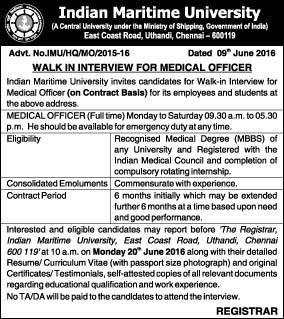 Walk in interview for Doctor in IMU Chennai