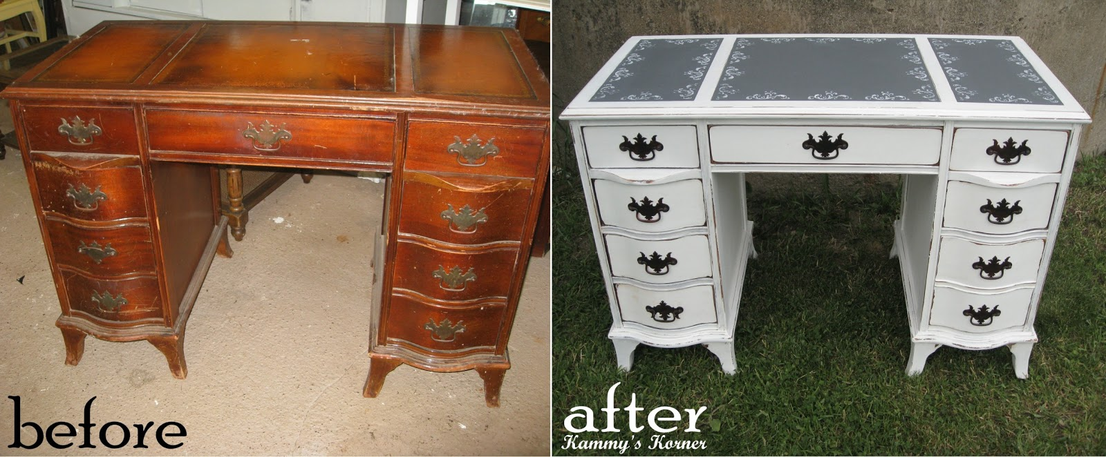 Shabby Chic Desk With Chalkboard Inserts Before And After