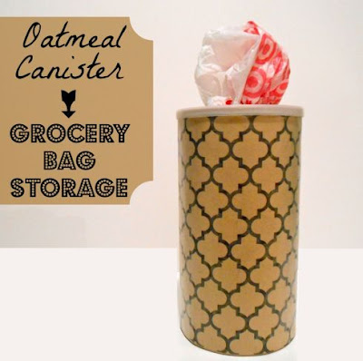 Oatmeal Canister to Grocery Bag Storage