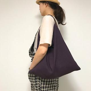 パープル麻とレザーのバッグ