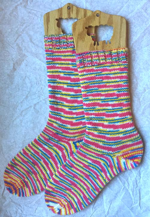 Pink  Blue  Yellow Pink Wool Sock ...