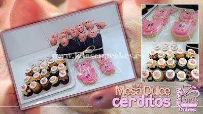 Dulces cakepops mini cupcakes galletas cerditos mesa dulce Laia's Cupcakes Puerto Sagunto