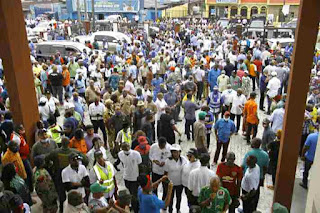 Members of NLC and TUC on a protest march