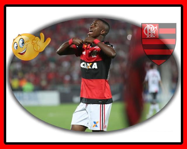 Vinicius Júnior marca primeiro gol pelo Flamengo.
