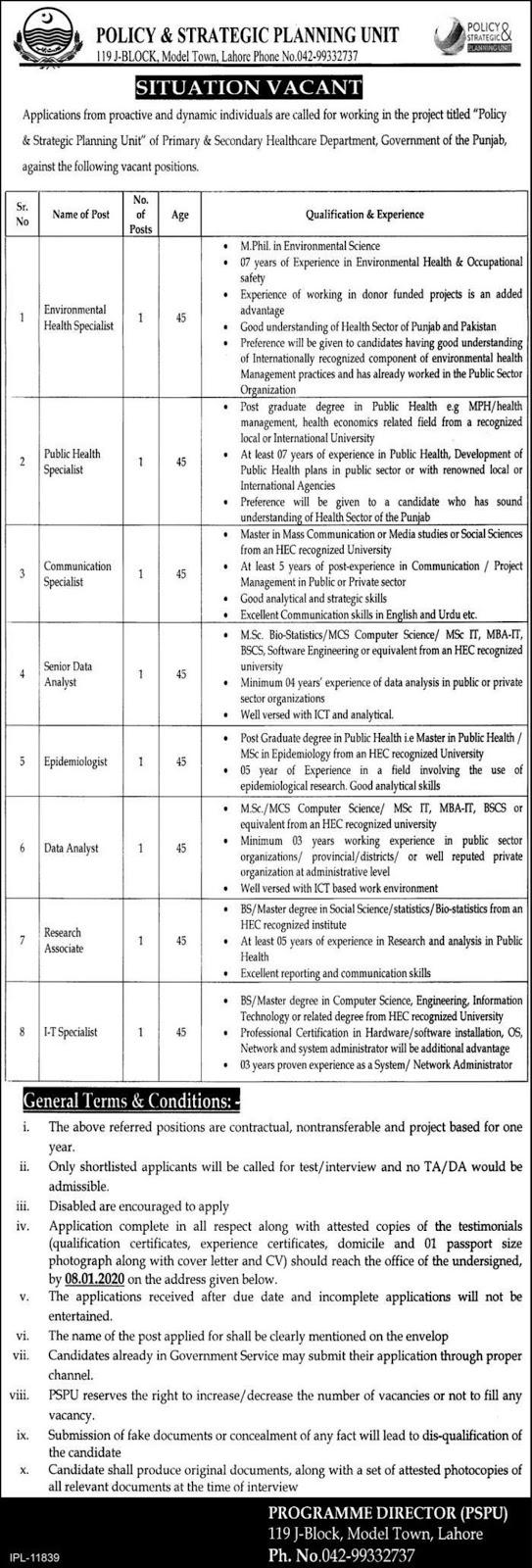 Policy & Strategic Planning Unit Punjab Jobs
