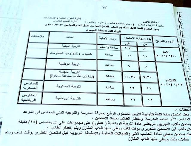 جداول امتحانات الفصل الدراسى الاول بمحافظة الاقصر 2021 بالصور