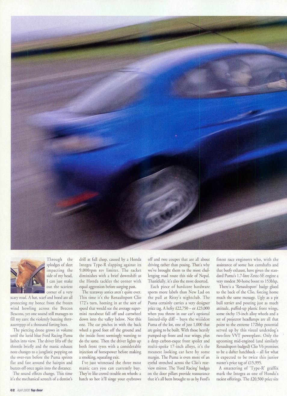 (Top Gear 2000) Honda Integra Type R vs. Ford Racing Puma vs. Renault Sport  Clio 172 a76ea1f21