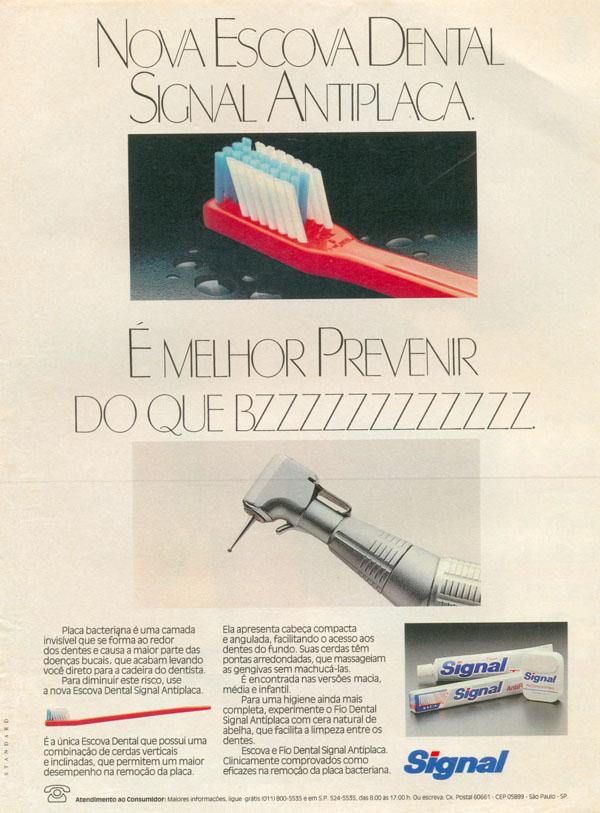 Propaganda da Signal promovendo sua escova dental em 1987