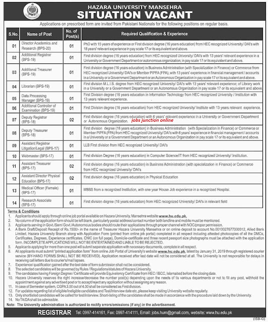 Hazara University (HU) Manshera Latest Jobs 2019 For Lecturers & Others