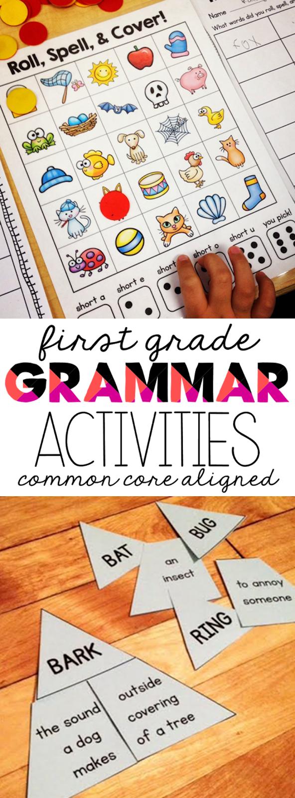 First Grade Grammar Activities \u0026 Printables - Susan Jones [ 1600 x 592 Pixel ]