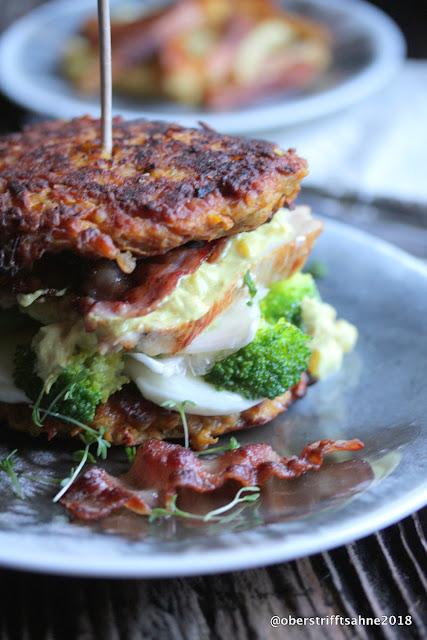 Gesunder Burger mit Putenbrust, Linsen, Brokkoli