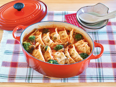 Tomato Gyoza Nabe (Hot Pot with Dumplings)
