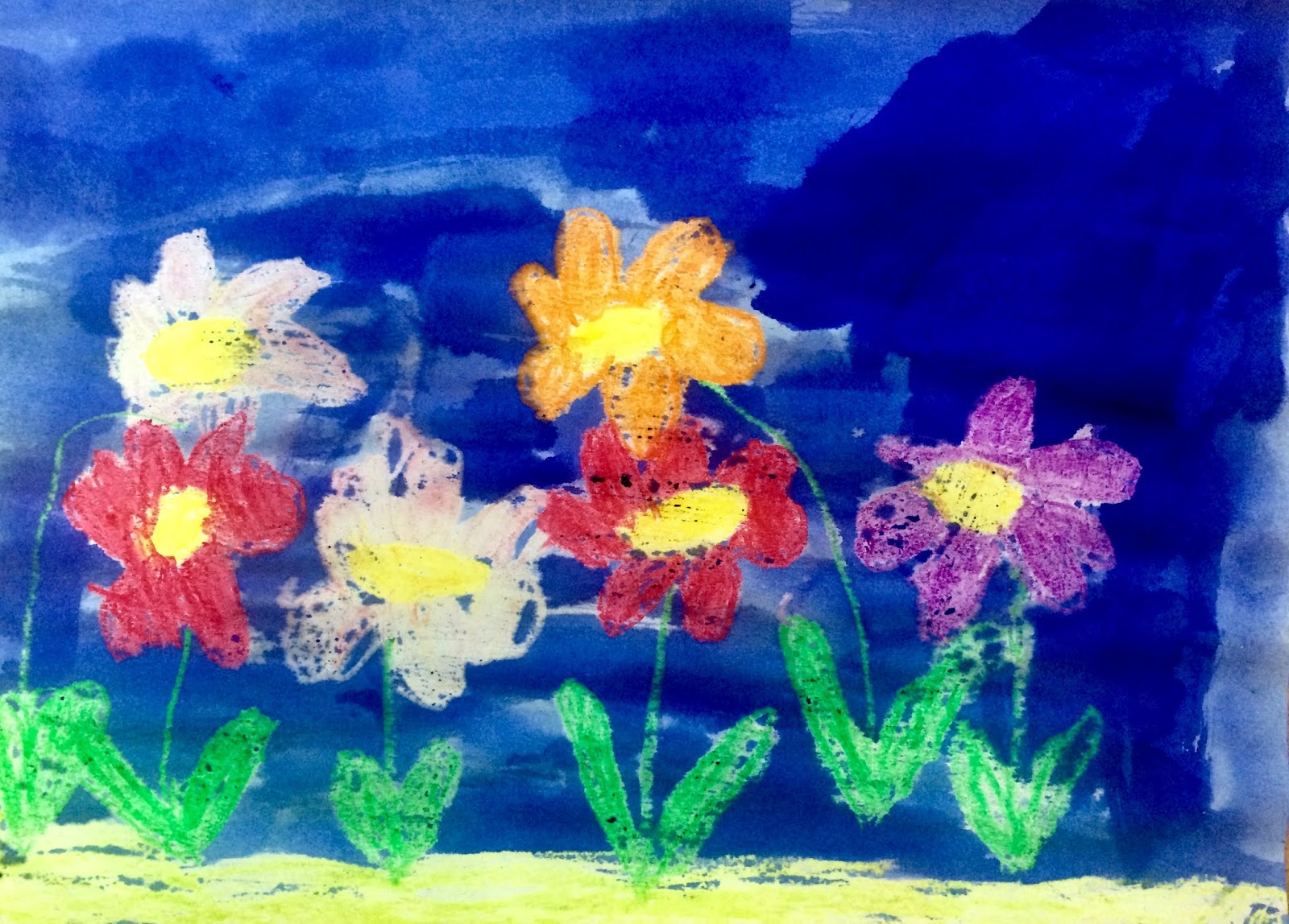 """""""Noaptea în grădina florilor""""- ceară și cerneală"""