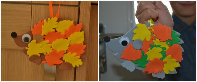 Autumnal arts and crafts, making hedgehogs!
