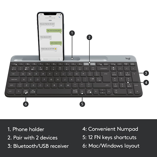 Logitech K580 Slim Multi-Device Wireless Keyboard for Chrome OS - Bluetooth/USB Receiver, Easy Switch, 24 Month Battery, Desktop, Tablet, Smartphone, Laptop Compatible - Graphite.