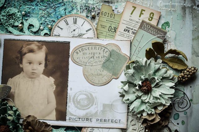 Pale baby blue mixed media scrapbook layout with 49 and Market Flowers, prills, die cuts