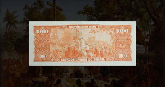"""PROPAGANDA NO DINHEIRO (1000 CRUZEIROS) – Os Cruzeiros da era Vargas. """"A primeira missa""""."""