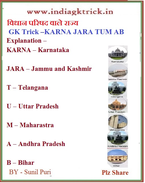 NEW  विधान परिषद वाले राज्य GK tricks in Hindi