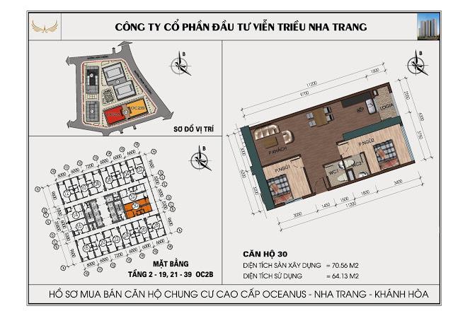 Sơ đồ căn hộ số 30 tòa OC2BViễn Triều Nha Trang
