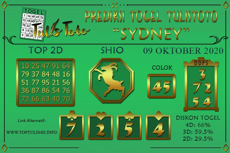 Prediksi Togel SYDNEY TULISTOTO 09 OKTOBER 2020