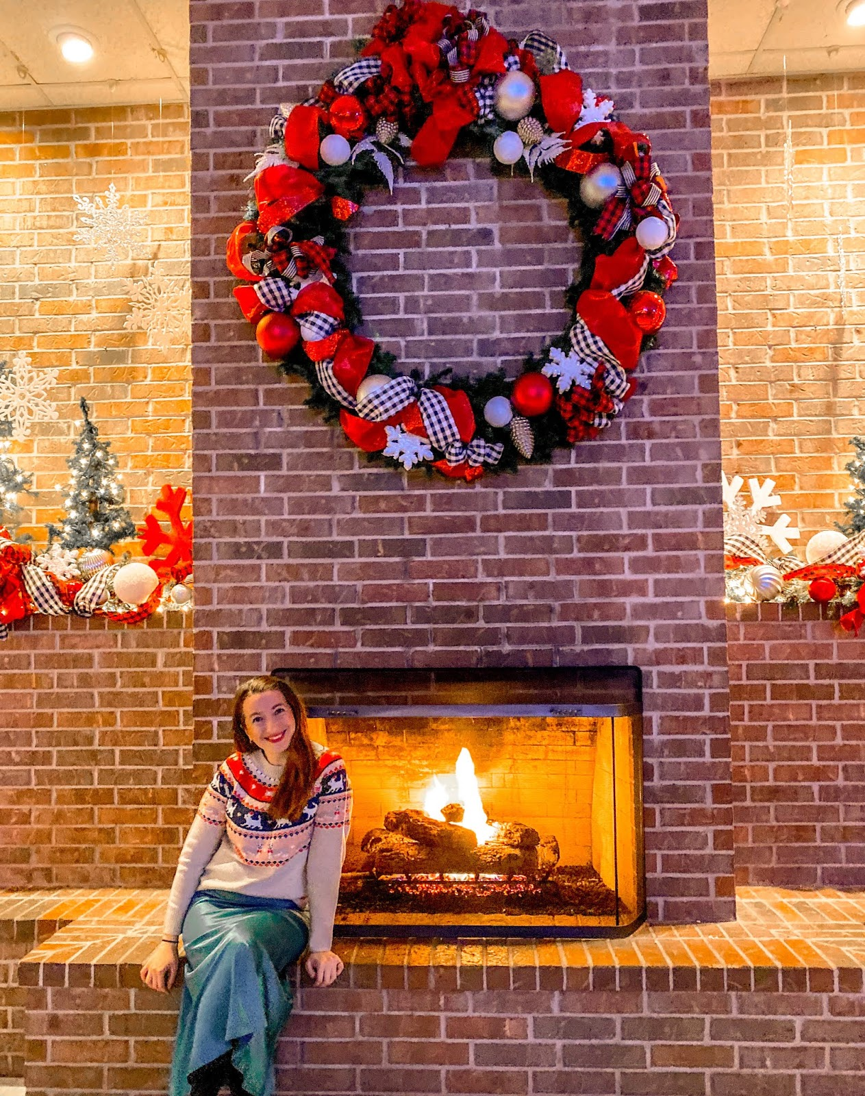 Fireplace ar The Christmas Train in Alvin