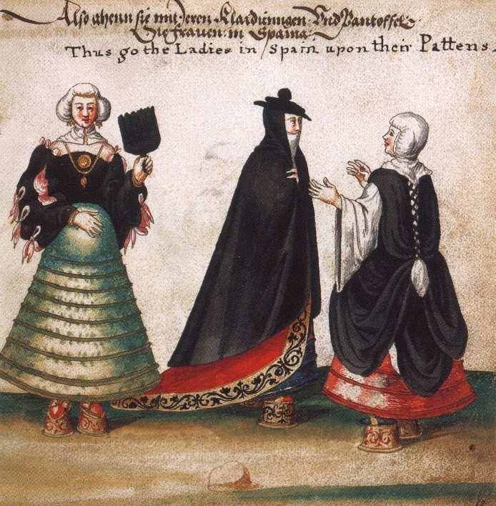 Spanish ladies wearing chopines, 1540