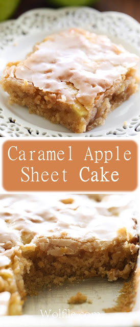Caramel Apple Sheet Cake Recipe #Caramel #Cake #Apple