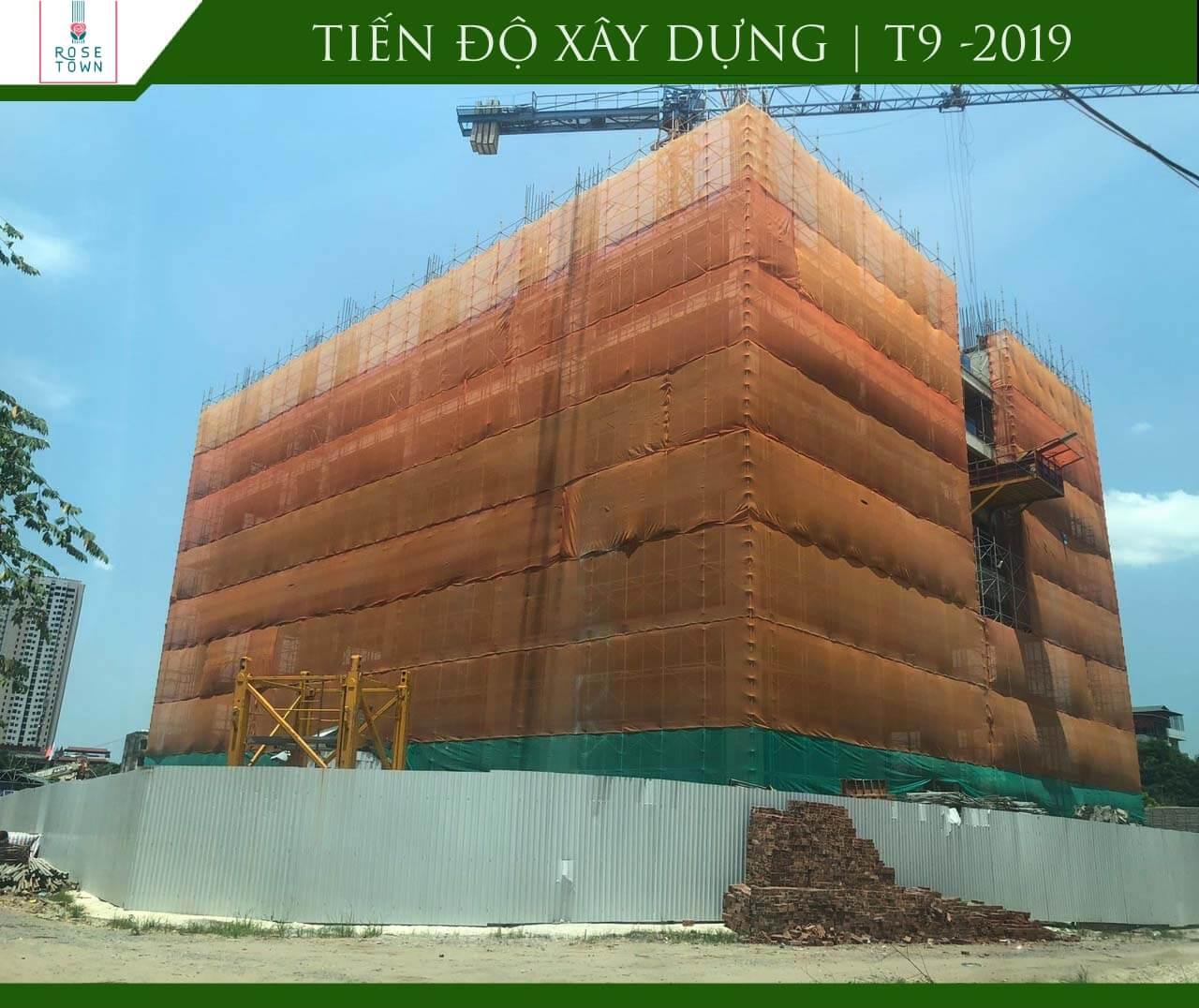 Tiến độ xây dựng Rose Town tháng 9/2019