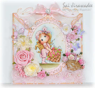 Criss Cross Card Magnolia Tilda with Rose Basket