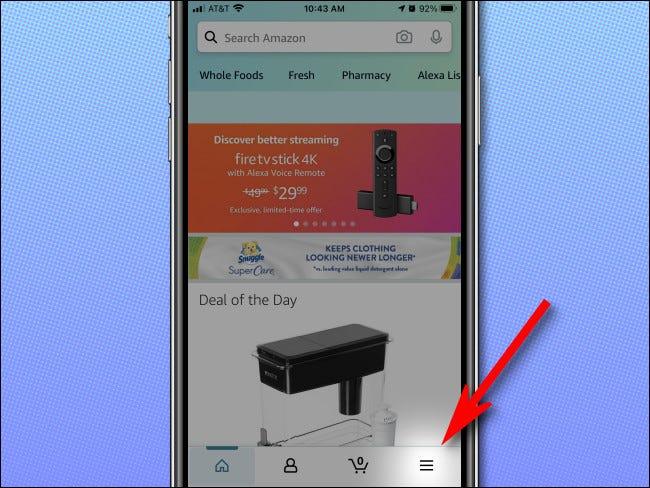 في تطبيق Amazon على iPhone ، اضغط على أيقونة الهامبرغر في الزاوية اليمنى السفلية من الشاشة.