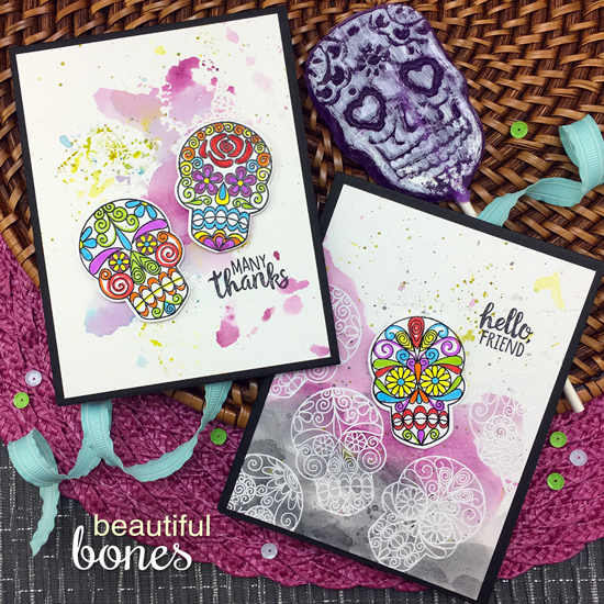 Skeleton cards by Jennifer Jackson | Beautiful Bones Stamp set by Newton's Nook Designs #newtonsnook #handmade