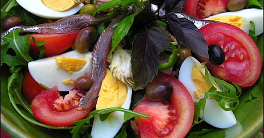 Salade Niçoise - Salad Nicoise. The Most Famous of all French Salads is Named after the City of Nice, on the Cote d'Azur, Provence, France.