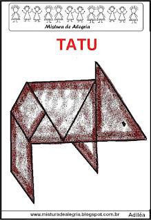 tangram desenho de tatu