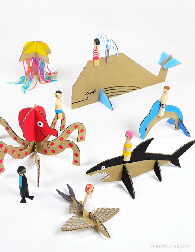 Decorar en familia: Animales marinos de cartón descargables1