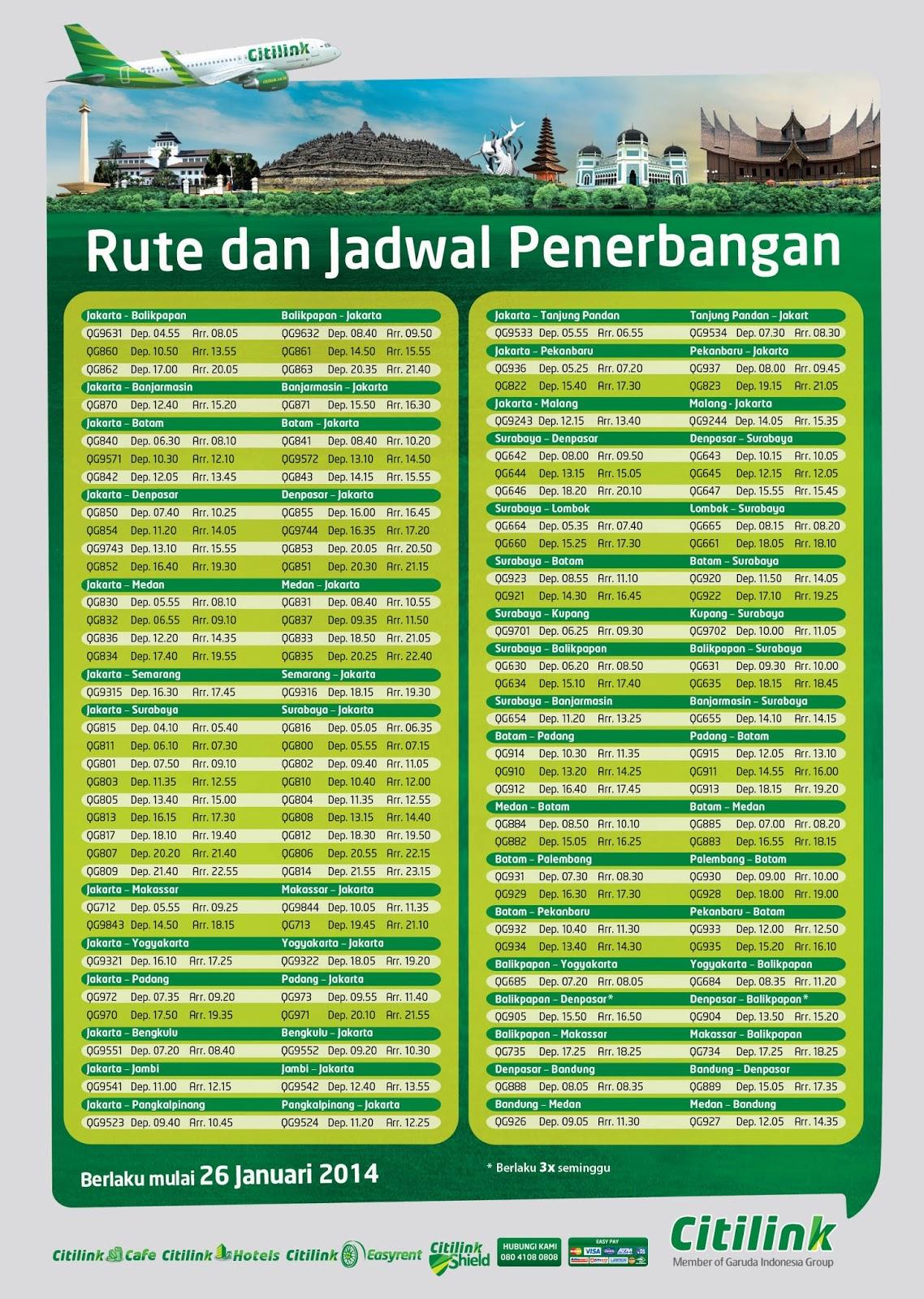 Rute dan Jadwal Penerbangan Citilink