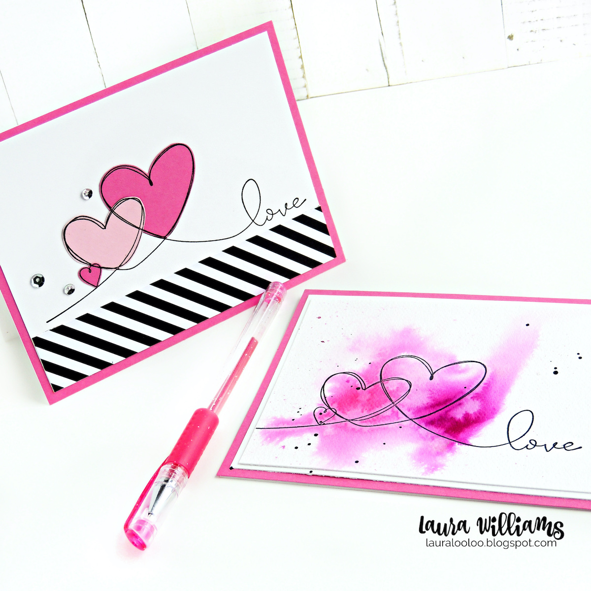 Make sweet handmade Valentine cards with the Triple Heart Love stamp from Impression Obsession. Click on over to my blog, Lauralooloo, to see ideas for this fun red rubber stamp. I'll show you how to paper-piece it, and add fun watercolor techniques to make a variety of lovely Valentine cardmaking ideas with this one stamp.