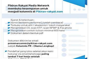 Lowongan Kerja Kolumnis Pikiran Rakyat Bandung
