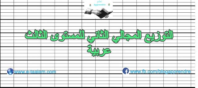 التوزيع المجالي الثاني للمستوى الثالث ابتدائي عربية 2020/2021