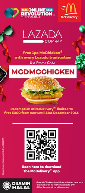McDonald's McDelivery Promo Code Free McChicken Lazada