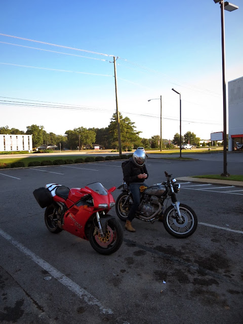 Ducati 916 and Yamaha XS400 motorcycles