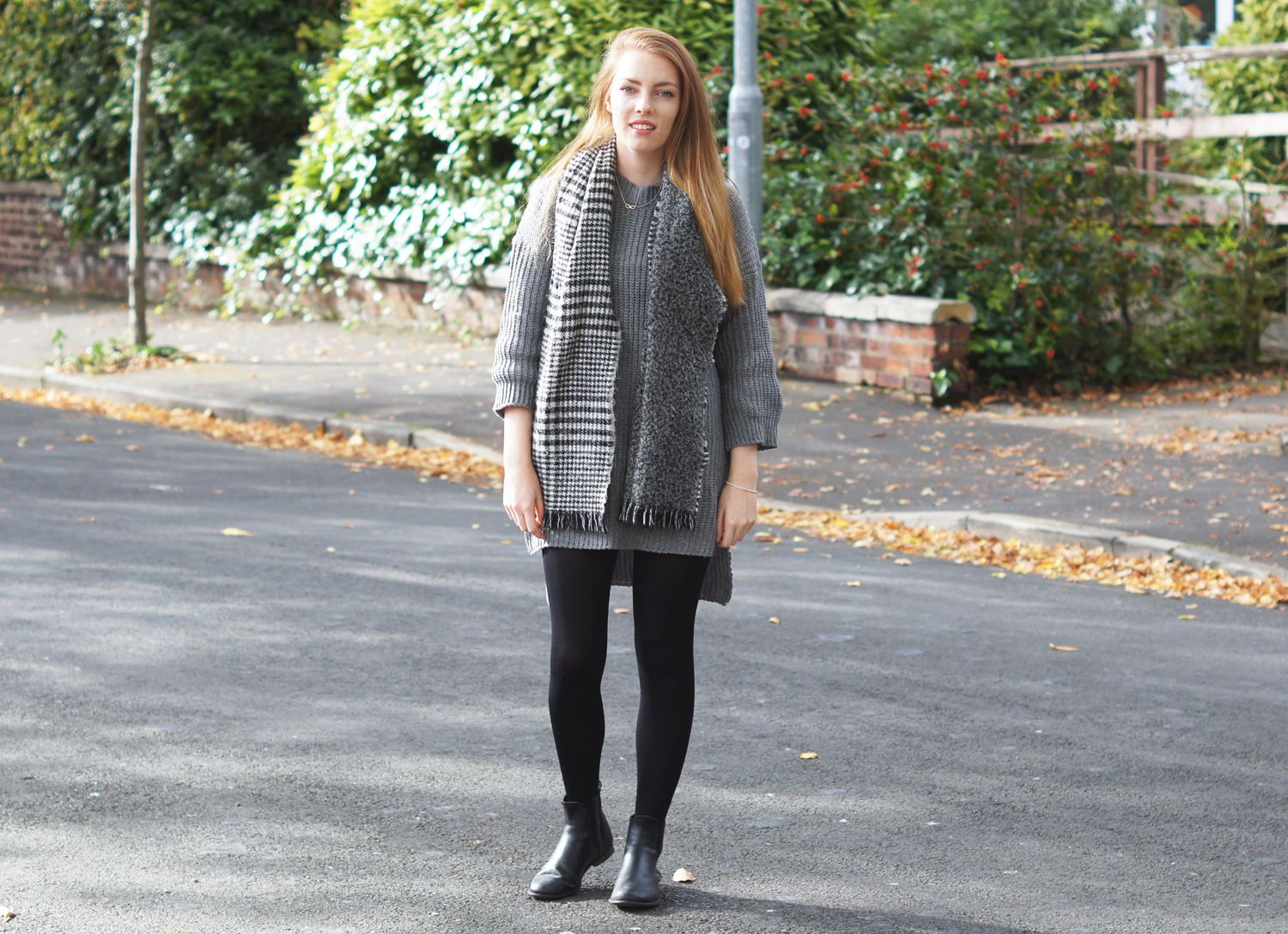 grey jumper dress and dogtooth scarf