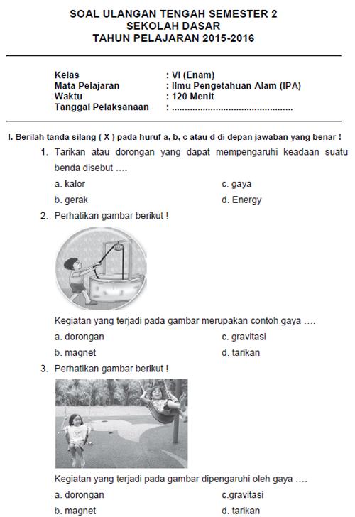 Soal Latihan UTS IPA SD Kelas 6 Semester II + Kunci Jawaban