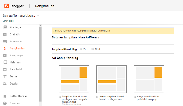 Tampilan pengauran iklan adsense di blogger