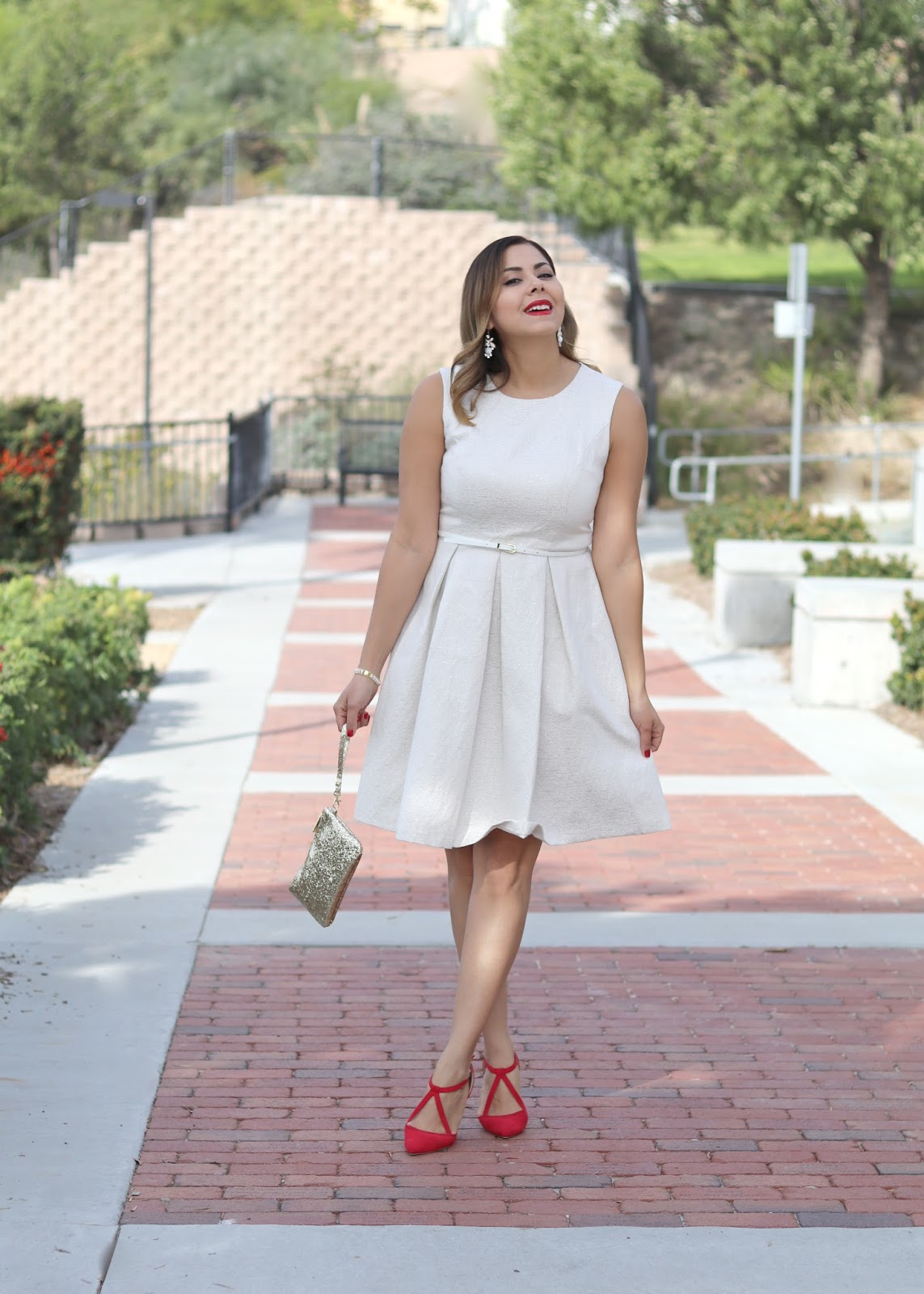 Holiday Outfit 2016, Metallic Dress, Red LIpstick
