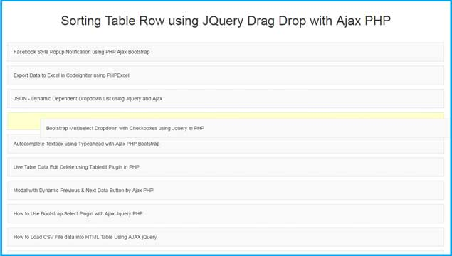 Sorting table row using jquery drag drop with ajax php for Html table sortable attribute