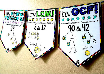 GCF LCM and prime factors math pennant