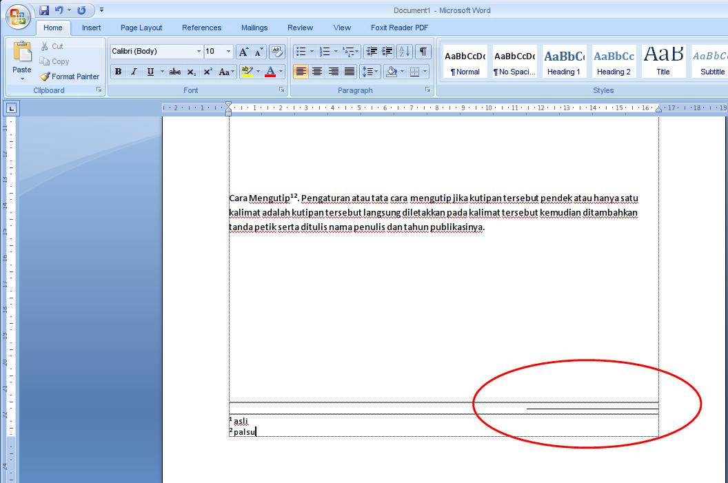Cara Setting Garis Footnote atau Catatan Kaki dari Kiri ke Kanan di MS Word
