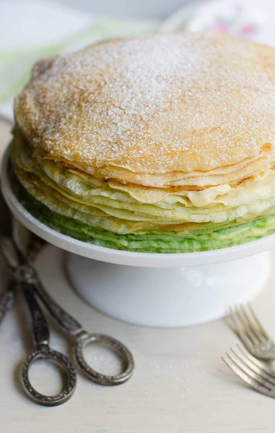 Green ombre Durian crepe cake